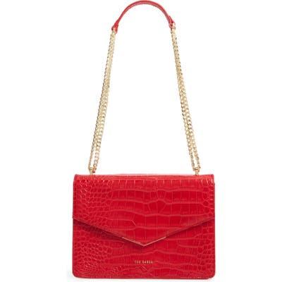 Ted Baker London Jaydaa Croc Embossed Leather Crossbody Bag - Red
