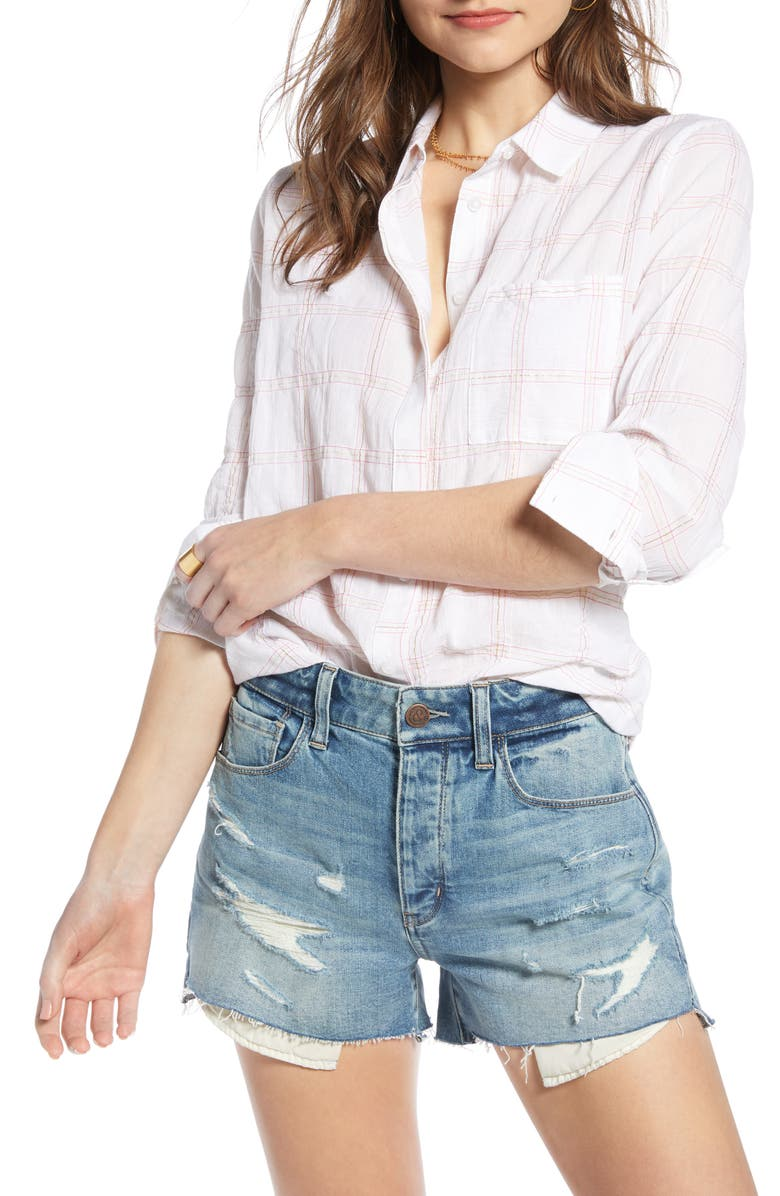 TREASURE & BOND Drapey Classic Shirt, Main, color, WHITE- PINK LUREX GRID