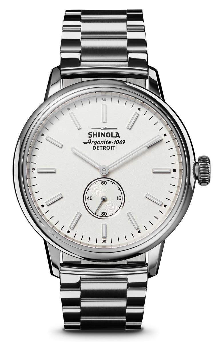 SHINOLA Bedrock Bracelet Watch, 42mm, Main, color, SILVER/ IVORY/ SILVER