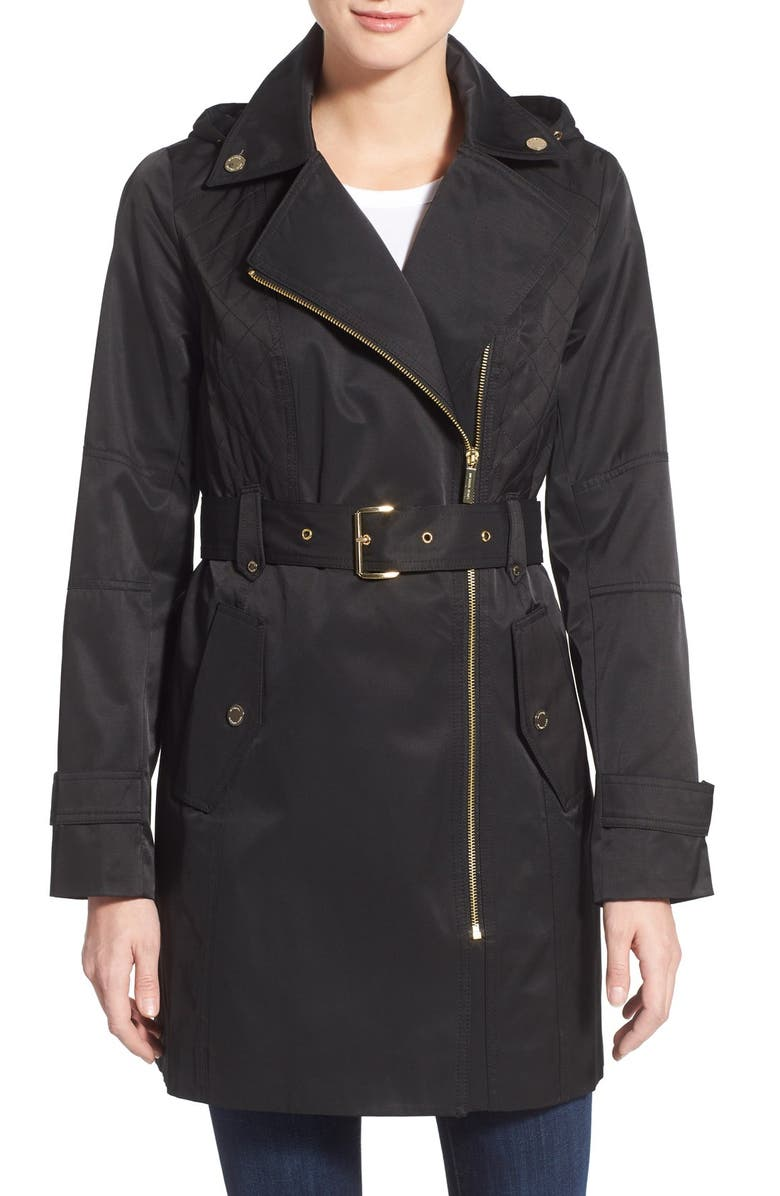 MICHAEL MICHAEL KORS Asymmetrical Hooded Trench Coat, Main, color, 001