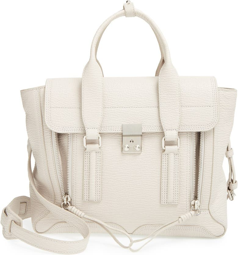 3.1 PHILLIP LIM 'Medium Pashli' Shark Embossed Leather Satchel, Main, color, 002