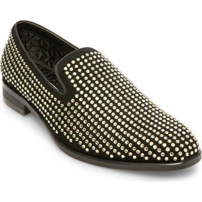 Steve Madden Falsetto Studded Venetian Loafer- Metallic