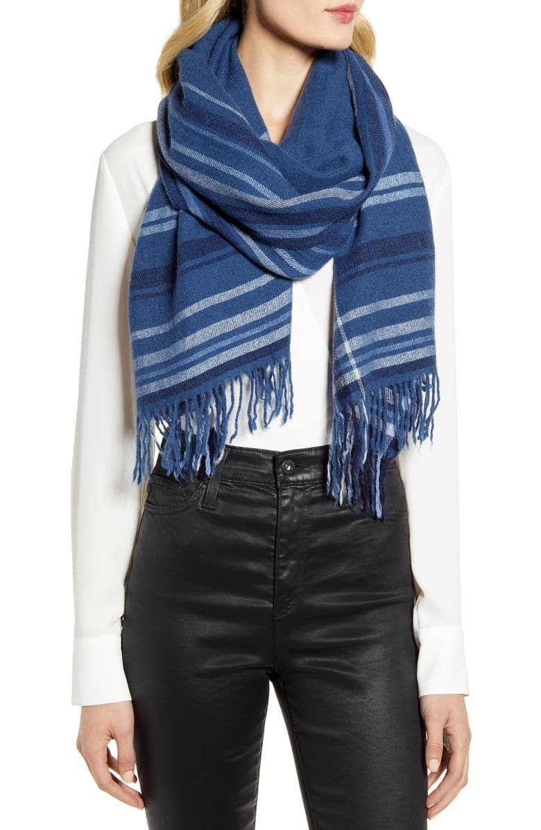 NORDSTROM Cashmere Scarf, Main, color, BLUE CAPTAIN HEATHER COMBO