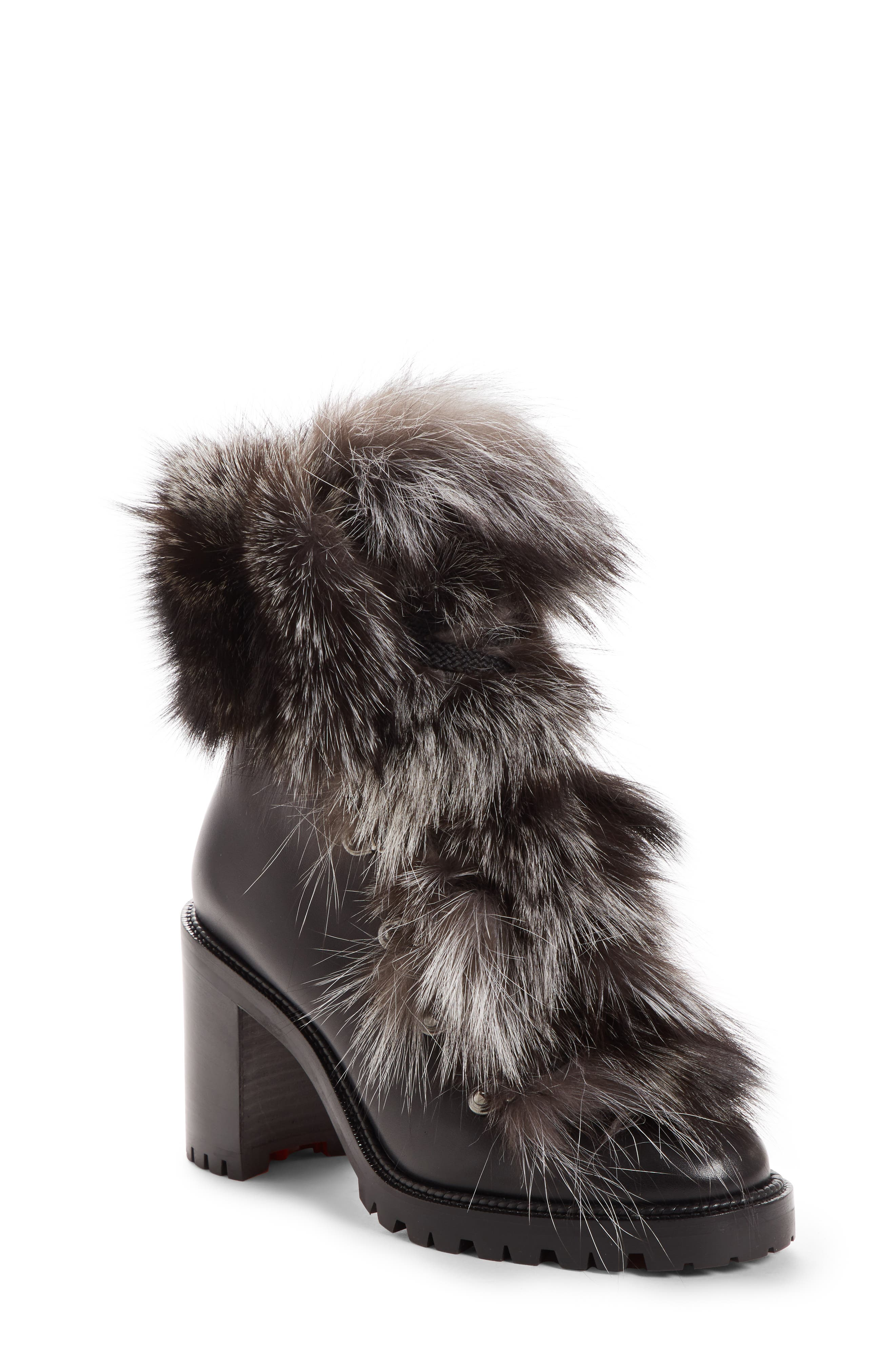 Christian Louboutin Fanny Genuine Fox Fur Boot, Black