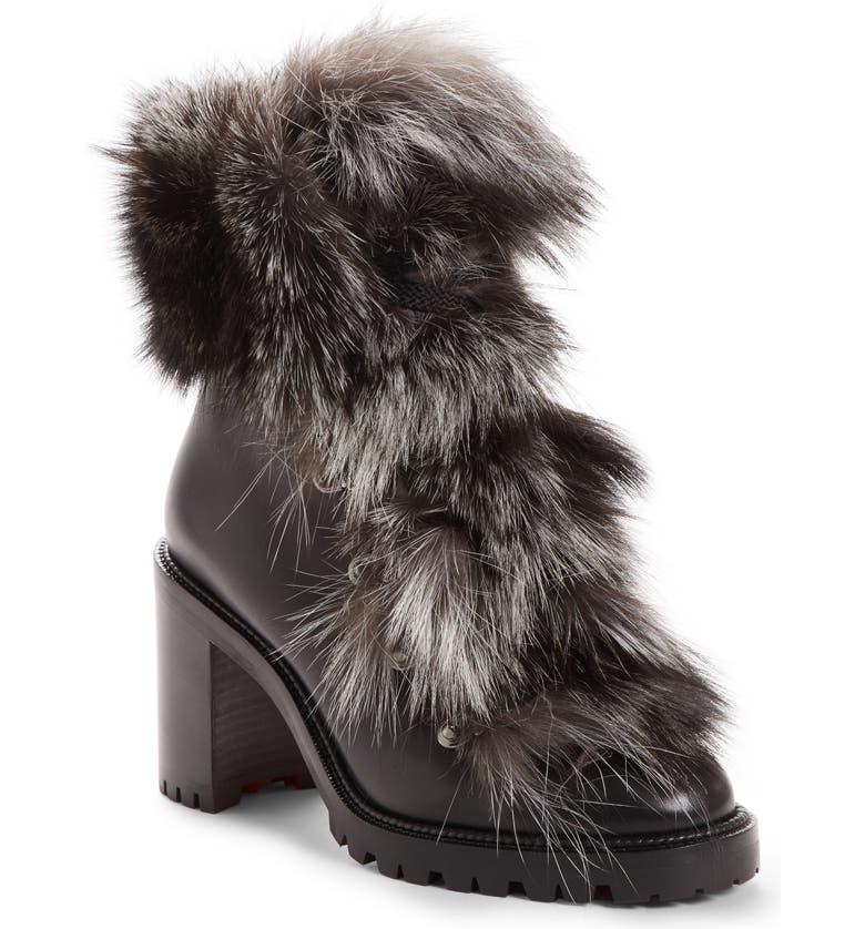 CHRISTIAN LOUBOUTIN Fanny Genuine Fur Boot, Main, color, 003