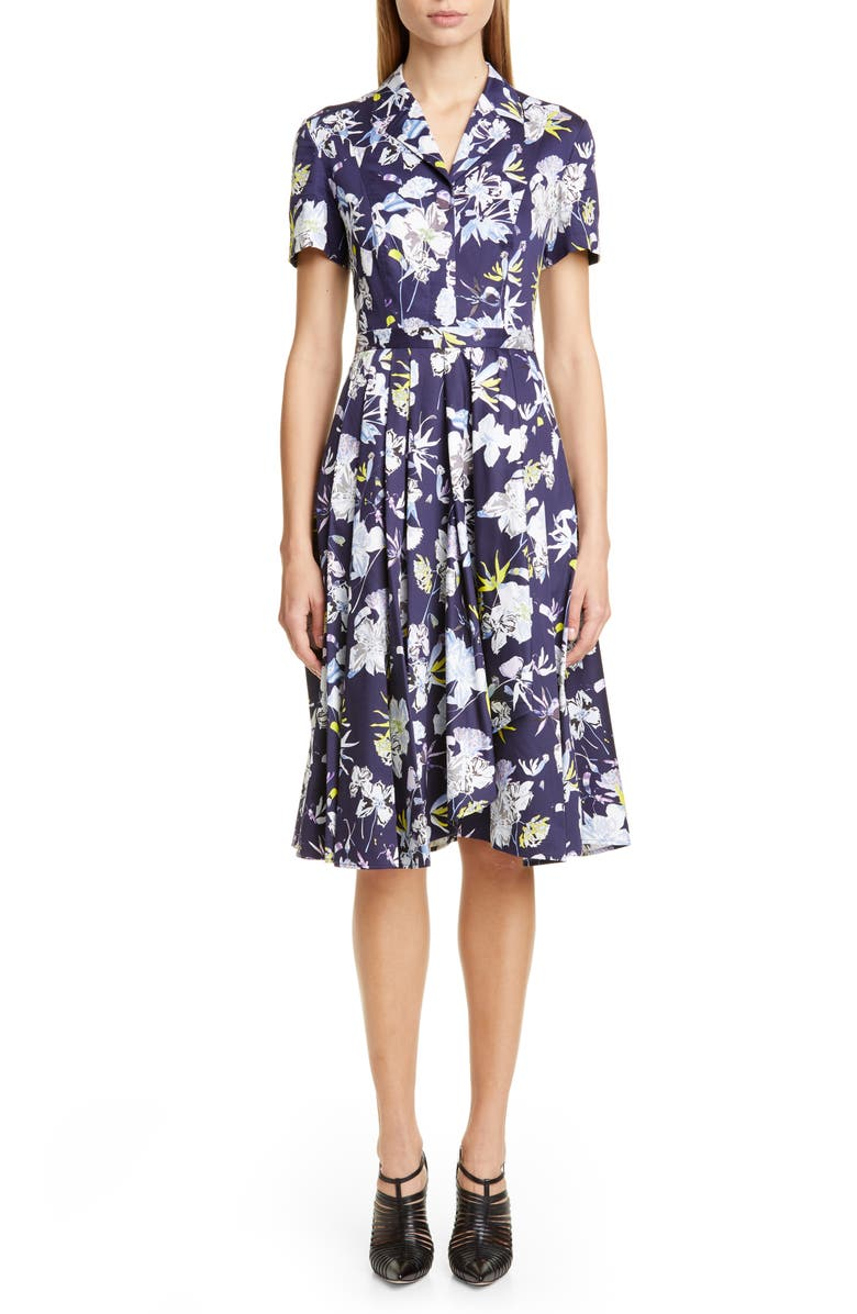 JASON WU COLLECTION Floral Print Cotton Dress, Main, color, NAVY MULTI