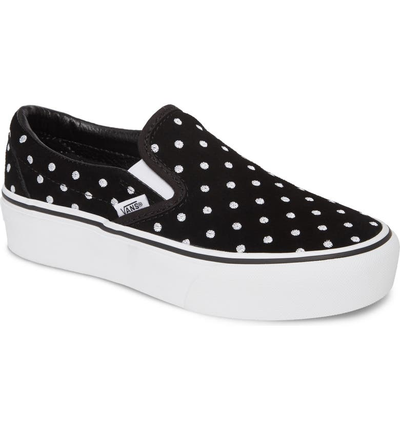 VANS Classic Slip-On Suede Platform Sneaker, Main, color, 001