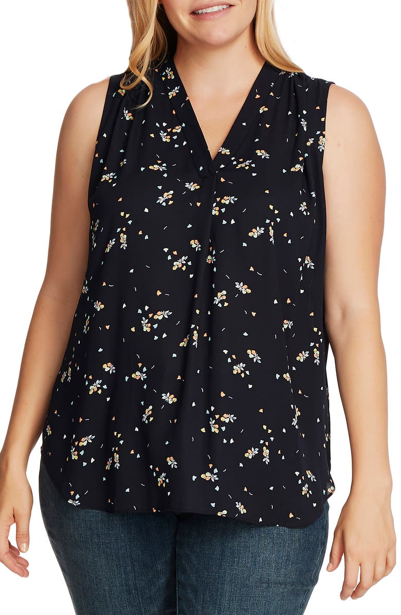 VINCE CAMUTO Whimsical Petals Sleeveless Top, Main, color, 001