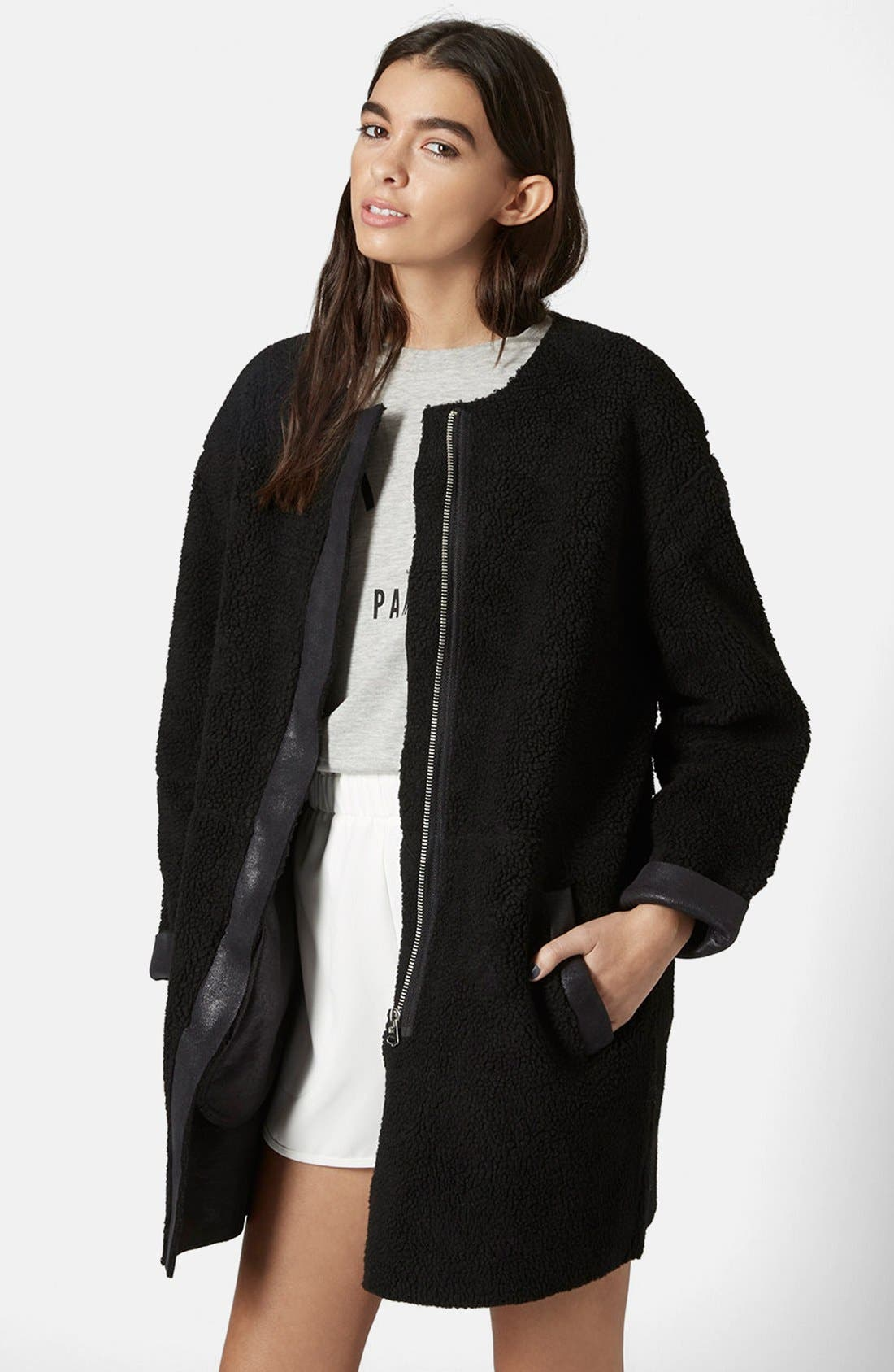 Faux Shearling Cocoon Jacket, Main, color, 001