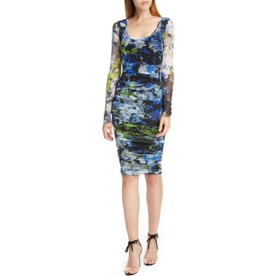 Fuzzi Floral Ruched Long Sleeve Dress, Black