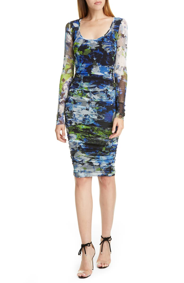 FUZZI Floral Ruched Long Sleeve Dress, Main, color, NERO