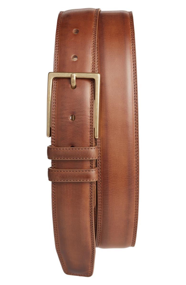 MEZLAN Nobuk Leather Belt, Main, color, 238