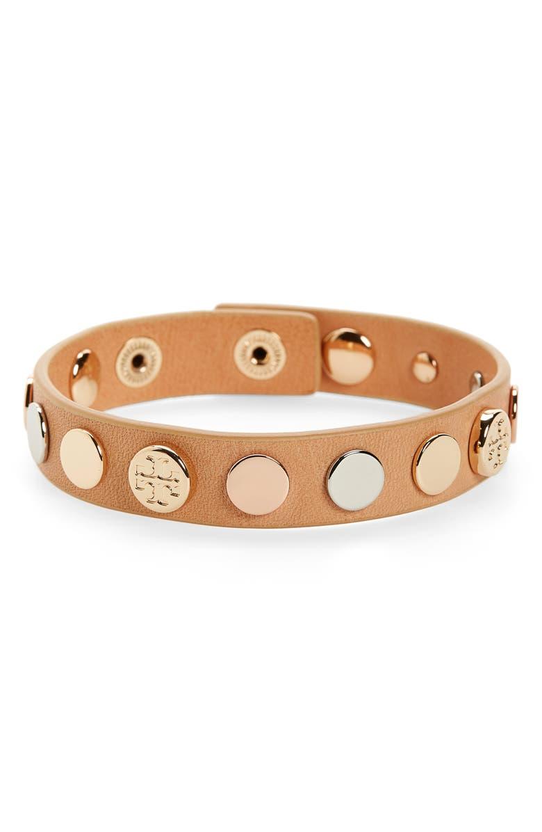 TORY BURCH Logo Studded Single Wrap Bracelet, Main, color, VACHETTA /GLD/SILV/ROSEGOLD
