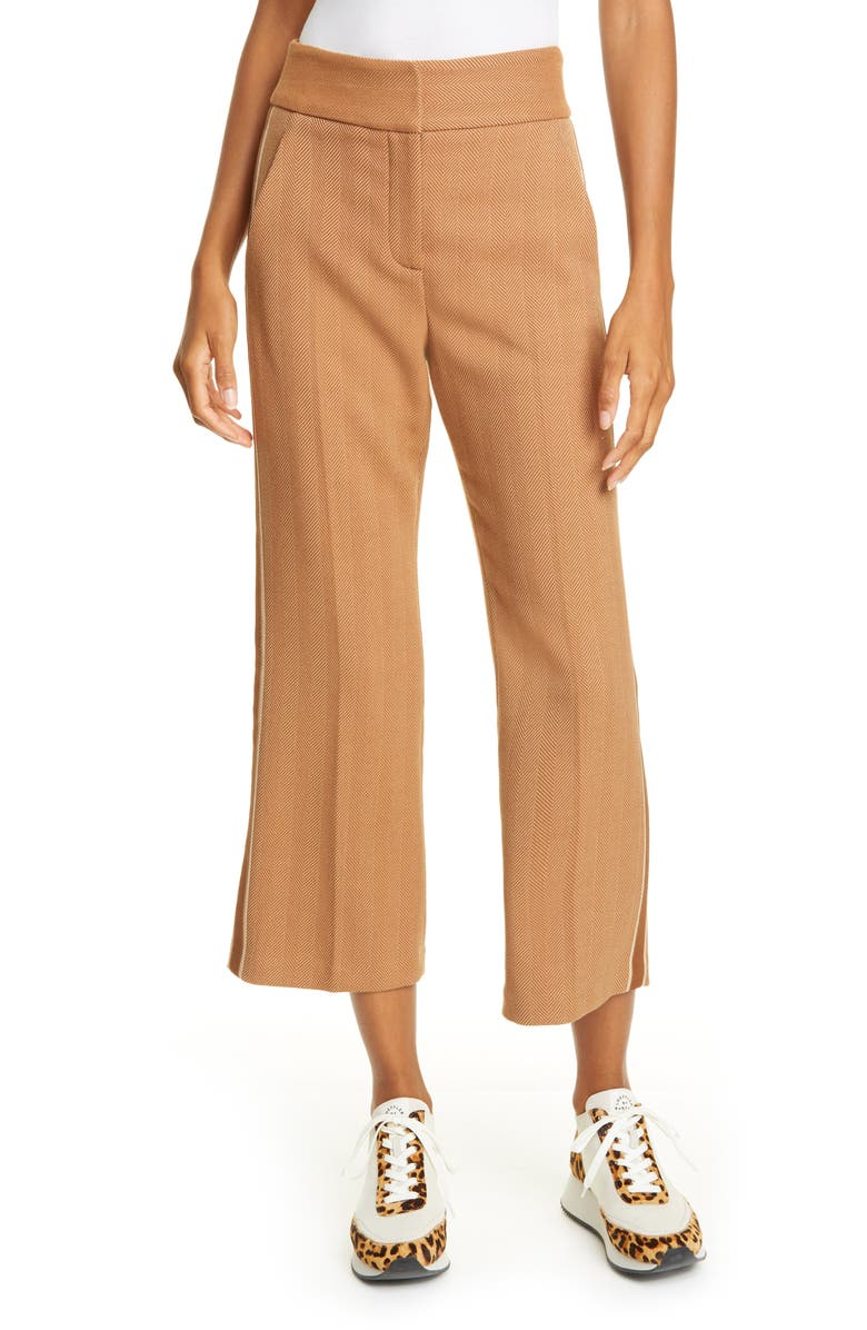 VERONICA BEARD Cormac Crop Flare Trousers, Main, color, KHAKI