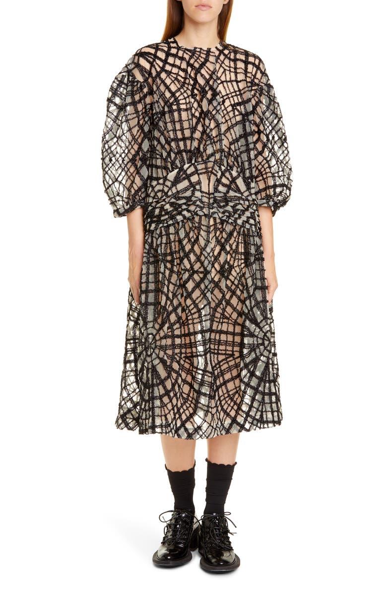 SIMONE ROCHA Pintuck Web Tulle Midi Dress, Main, color, 001