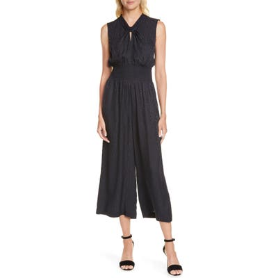 Rebecca Taylor Sleeveless Cheetah Jacquard Jumpsuit, Black