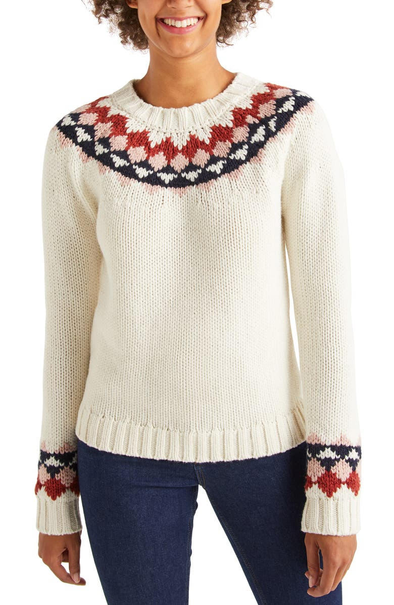 BODEN Cordelia Fair Isle Wool & Alpaca Blend Sweater, Main, color, IVORY