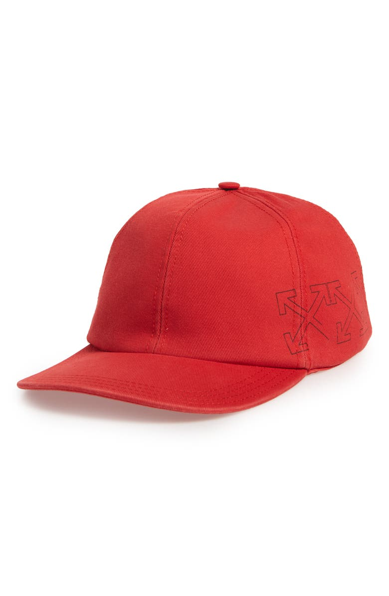 OFF-WHITE Arrows Baseball Cap, Main, color, RED BLACK