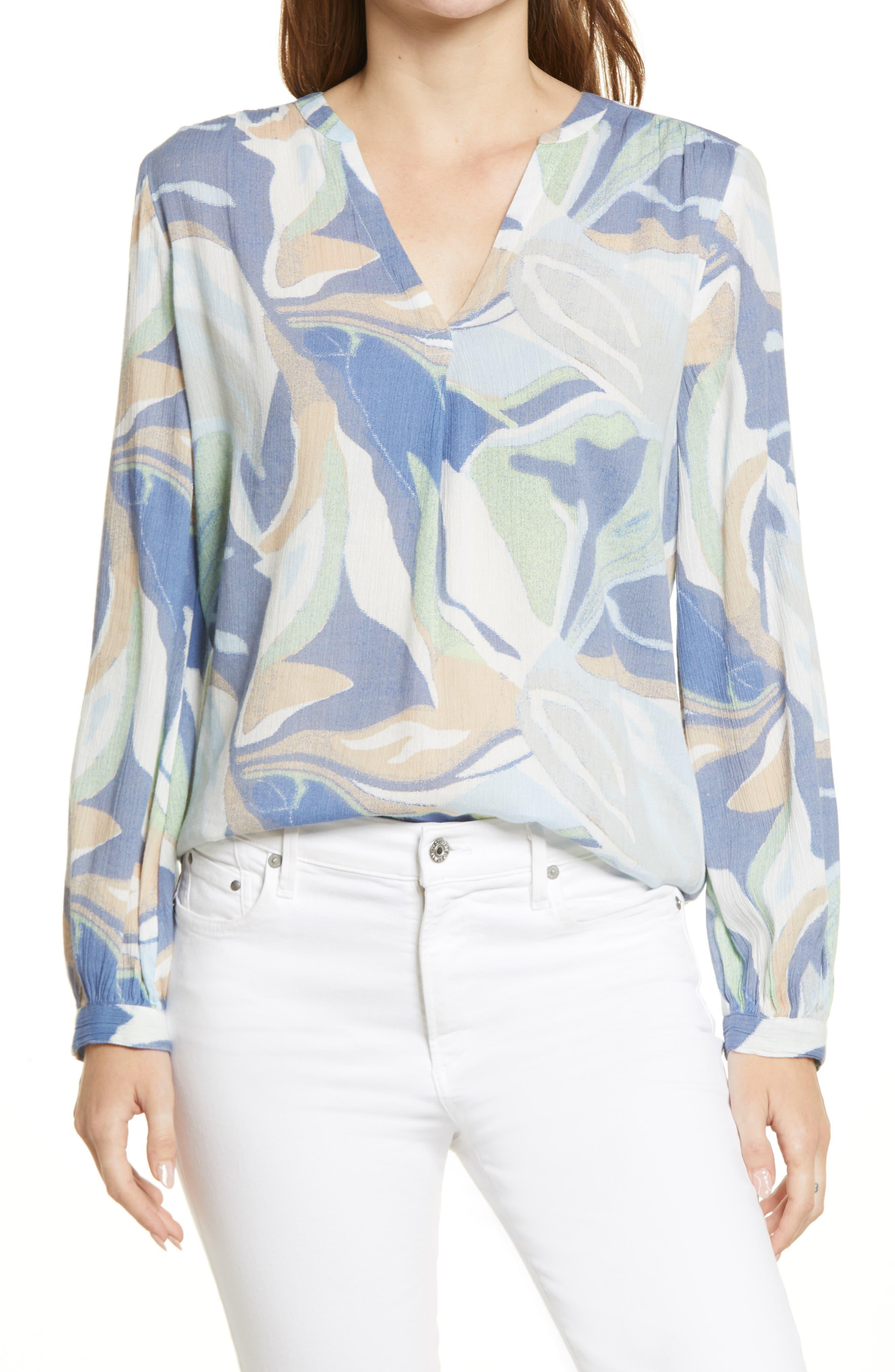 Women's Caslon V-Neck Long Sleeve Crinkle Crepe Shirt