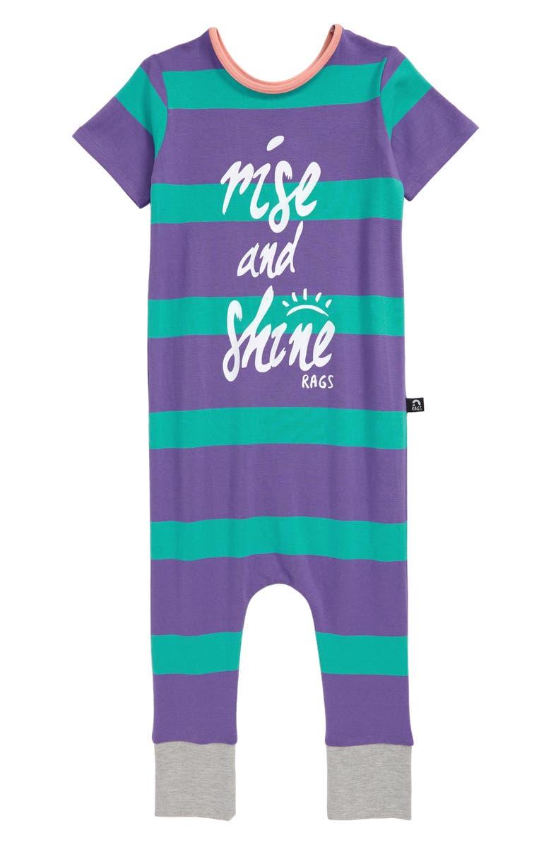 RAGS Rise & Shine Romper, Main, color, PAISLEY PURPLE STRIPE