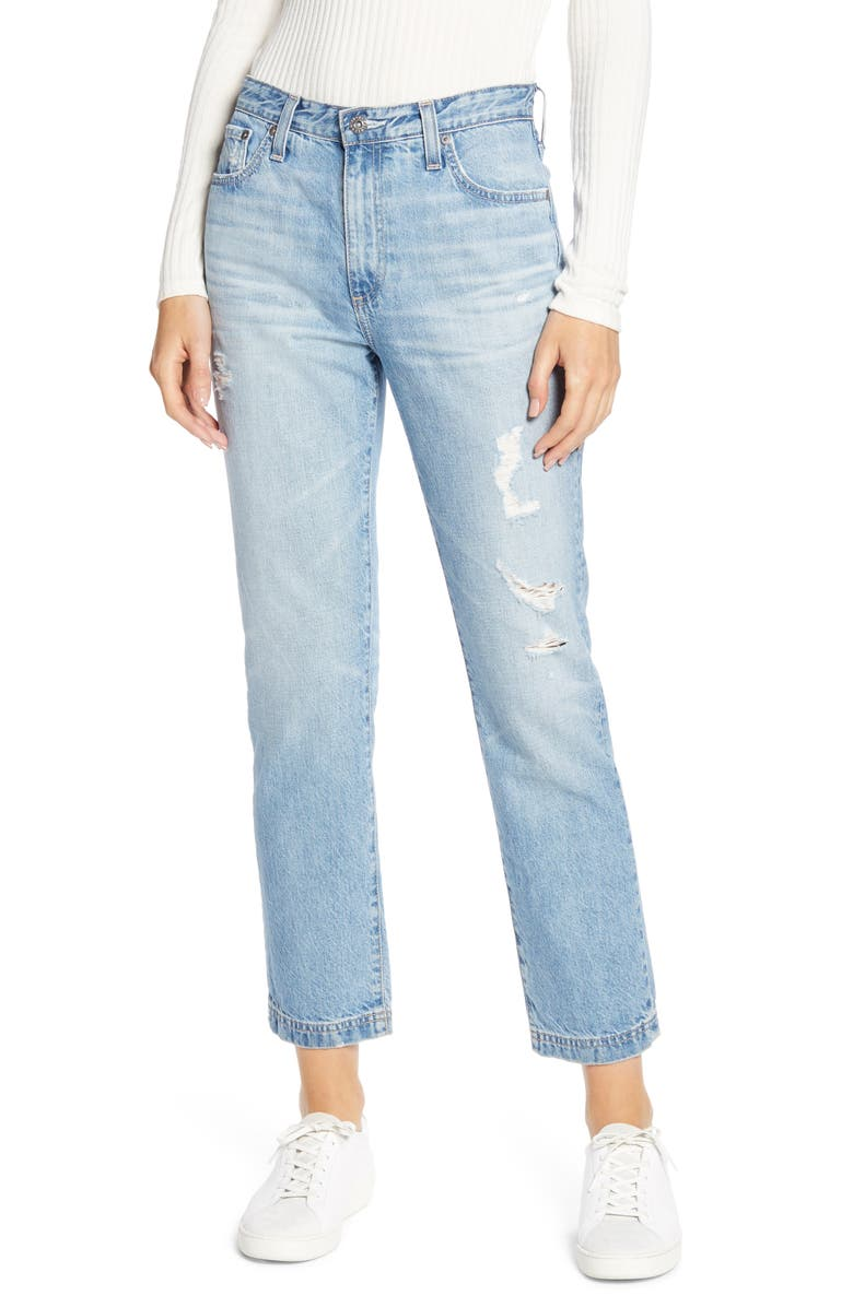 AG The Isabelle High Waist Crop Straight Leg Jeans, Main, color, 23 YEARS CINEMATIC