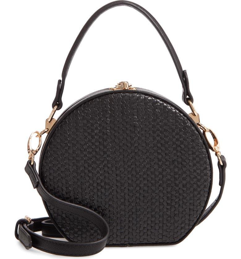 SONDRA ROBERTS Canteen Woven Faux Leather Crossbody Bag, Main, color, BLACK