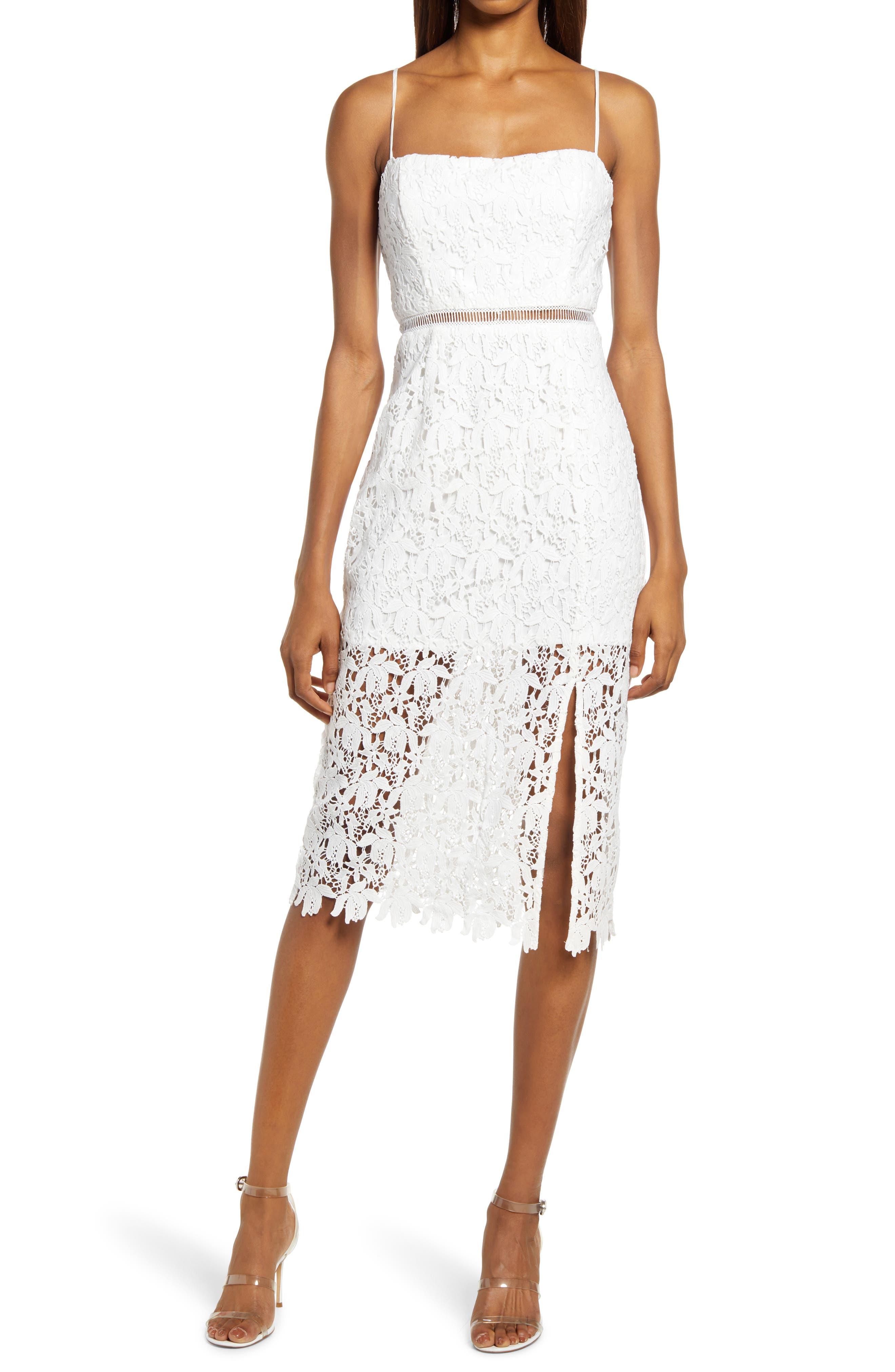 Side Slit Lace Midi Dress