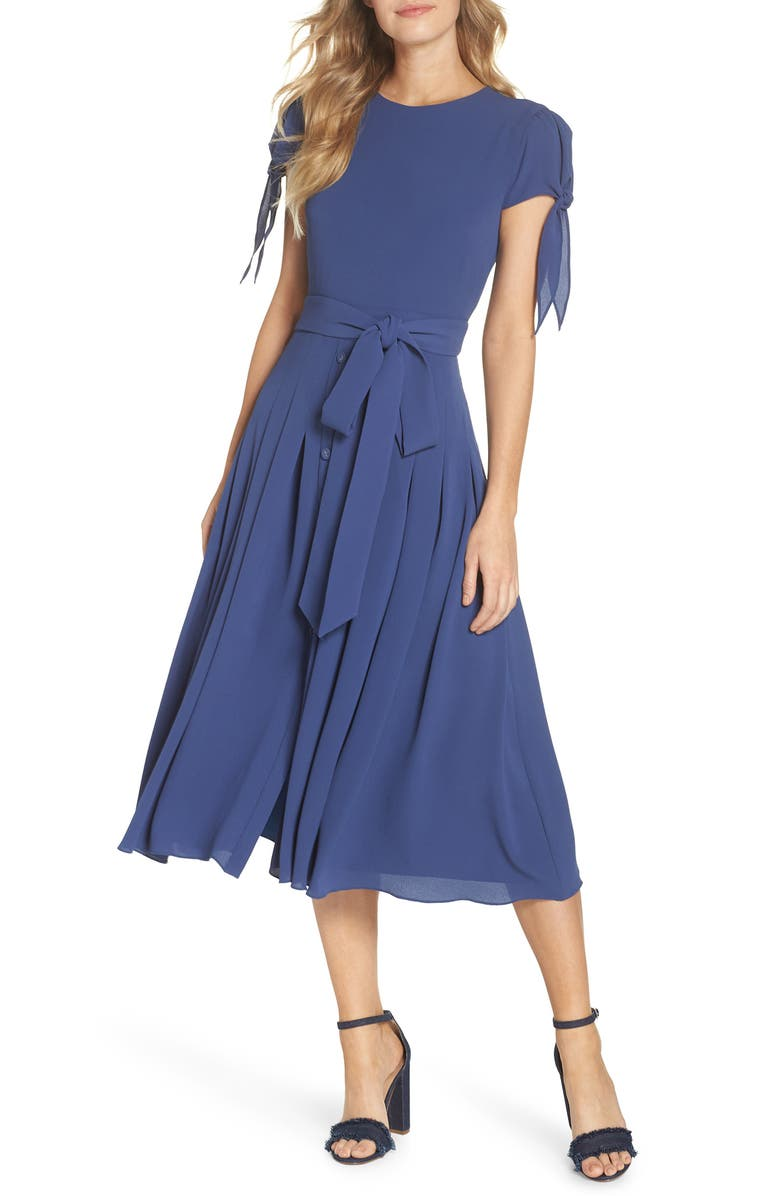 GAL MEETS GLAM COLLECTION Bette Pleated Midi Dress, Main, color, INK BLUE