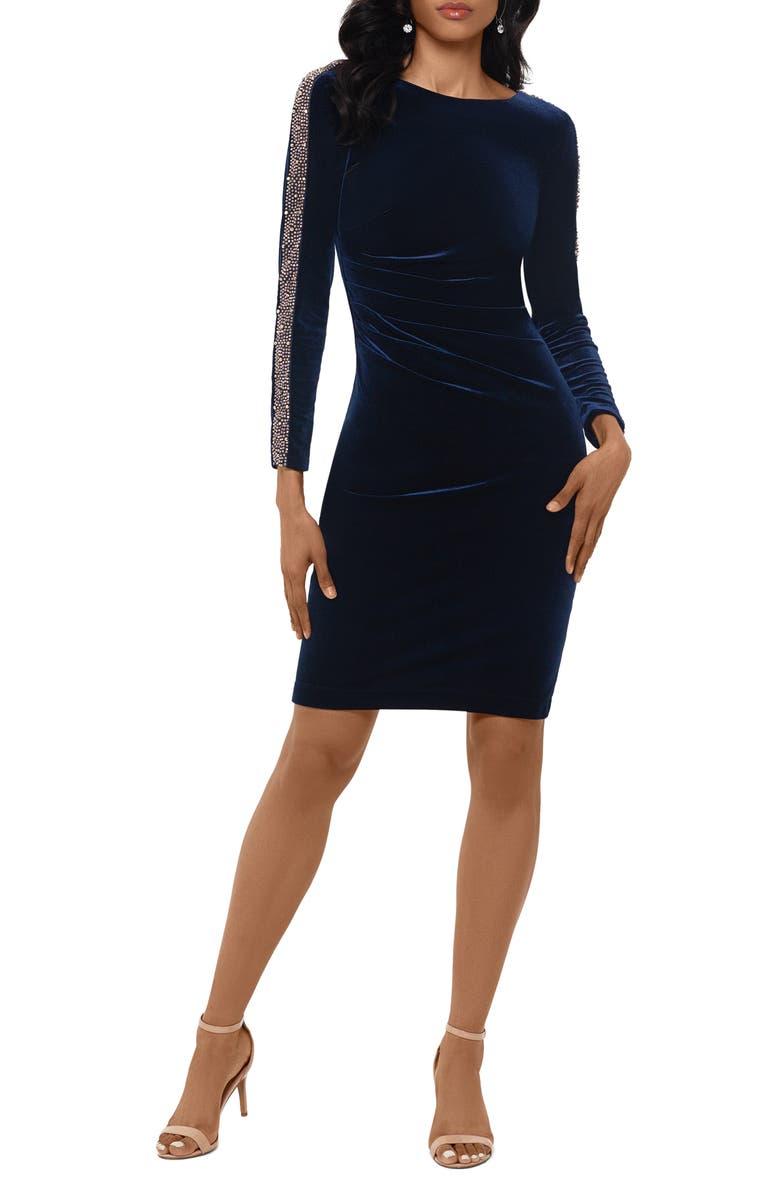 XSCAPE Beaded Long Sleeve Velvet Cocktail Dress, Main, color, NAVY