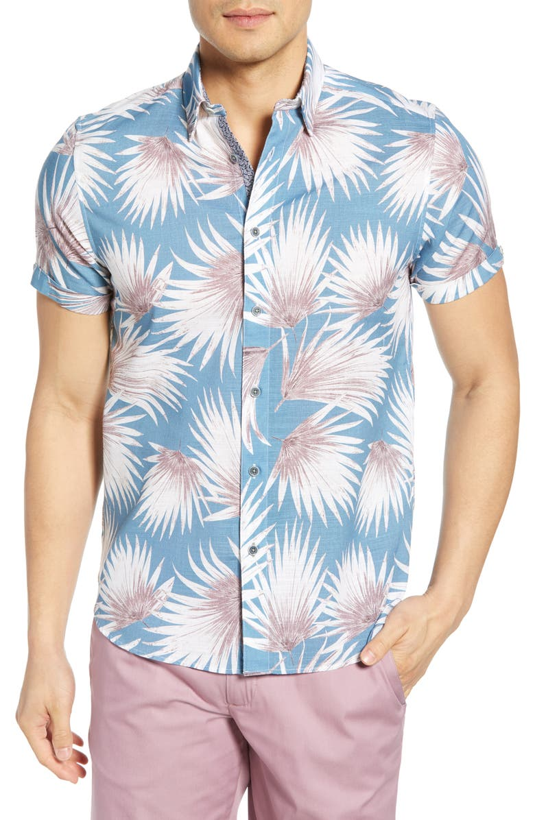 TED BAKER LONDON Slim Fit Palm Print Short Sleeve Button-Up Shirt, Main, color, BLUE