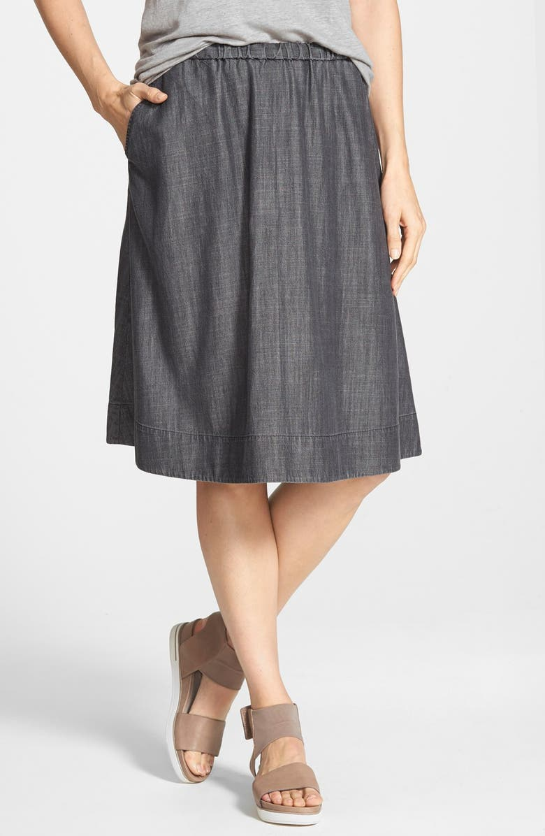 EILEEN FISHER Gathered Chambray Skirt, Main, color, 001