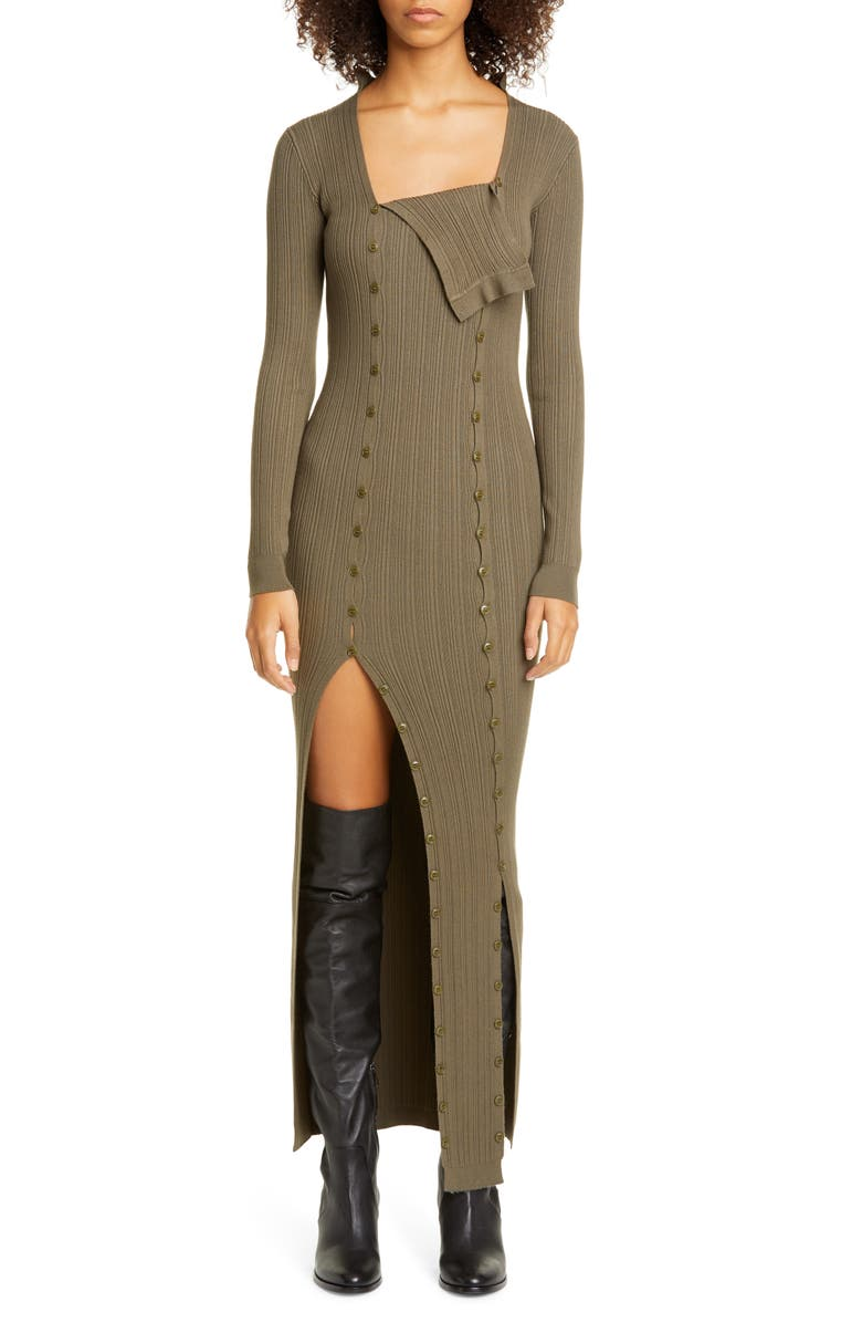 JACQUEMUS Maille Azur Button Panel Long Sleeve Ribbed Dress, Main, color, KHAKI