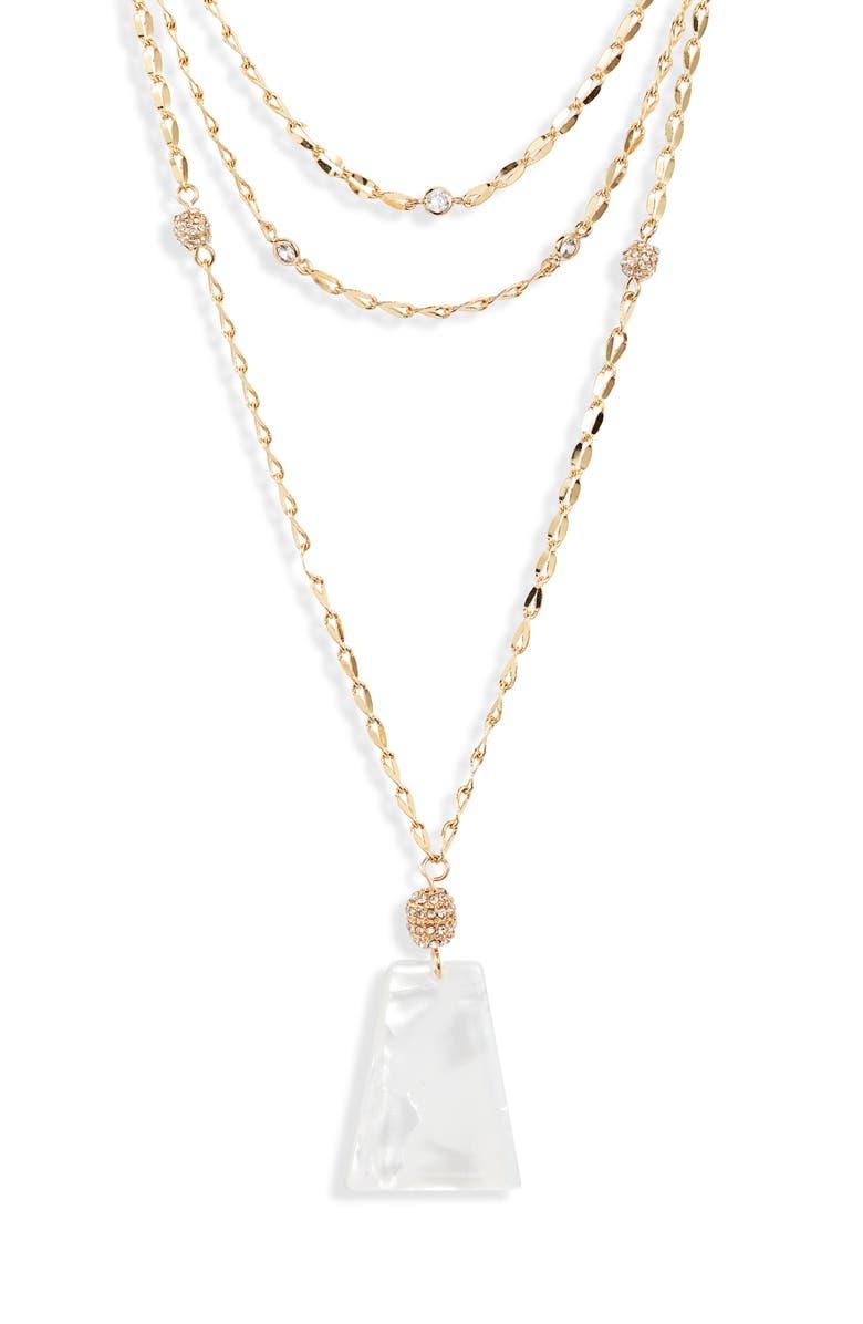 ETTIKA Multistrand Pendant Necklace, Main, color, GOLD/ WHITE