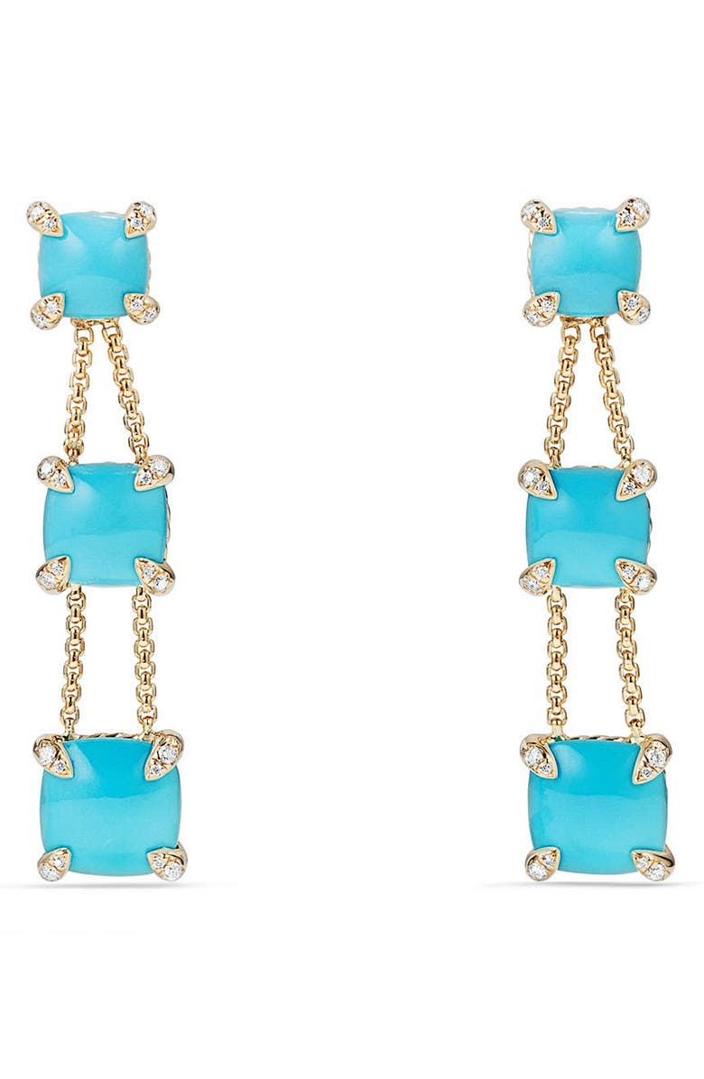 DAVID YURMAN Châtelaine Linear Chain Earrings in 18K Gold with Semiprecious Stone and Diamonds, Main, color, TURQUOISE