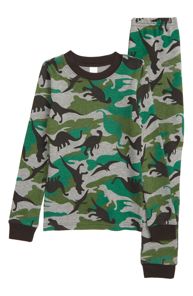 TUCKER + TATE Fitted Two-Piece Pajamas, Main, color, GREEN VINEYARD DINO CAMO