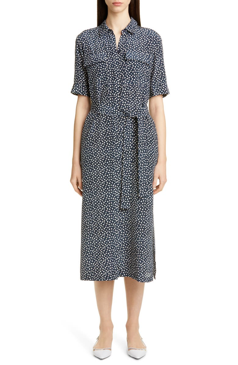 Doha Short Sleeve Silk Shirtdress by Lafayette 148 New York