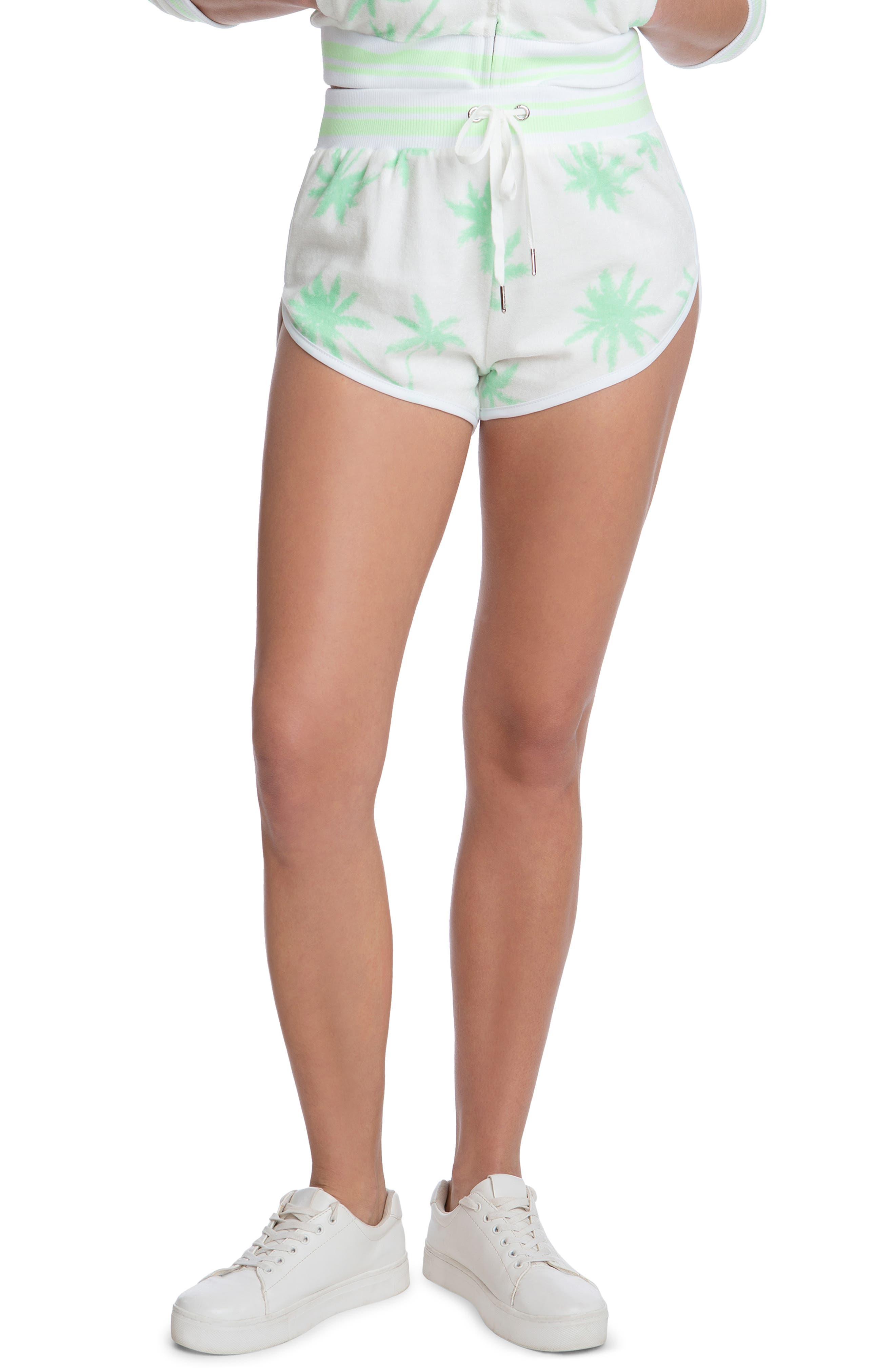 Palm Print Terry Cloth Shorts