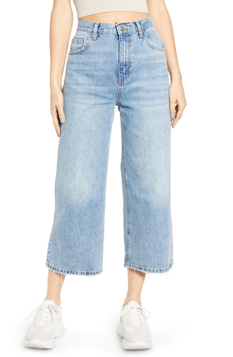 TOPSHOP High Waist Crop Flare Nonstretch Jeans, Main, color, BLEACH BLUE