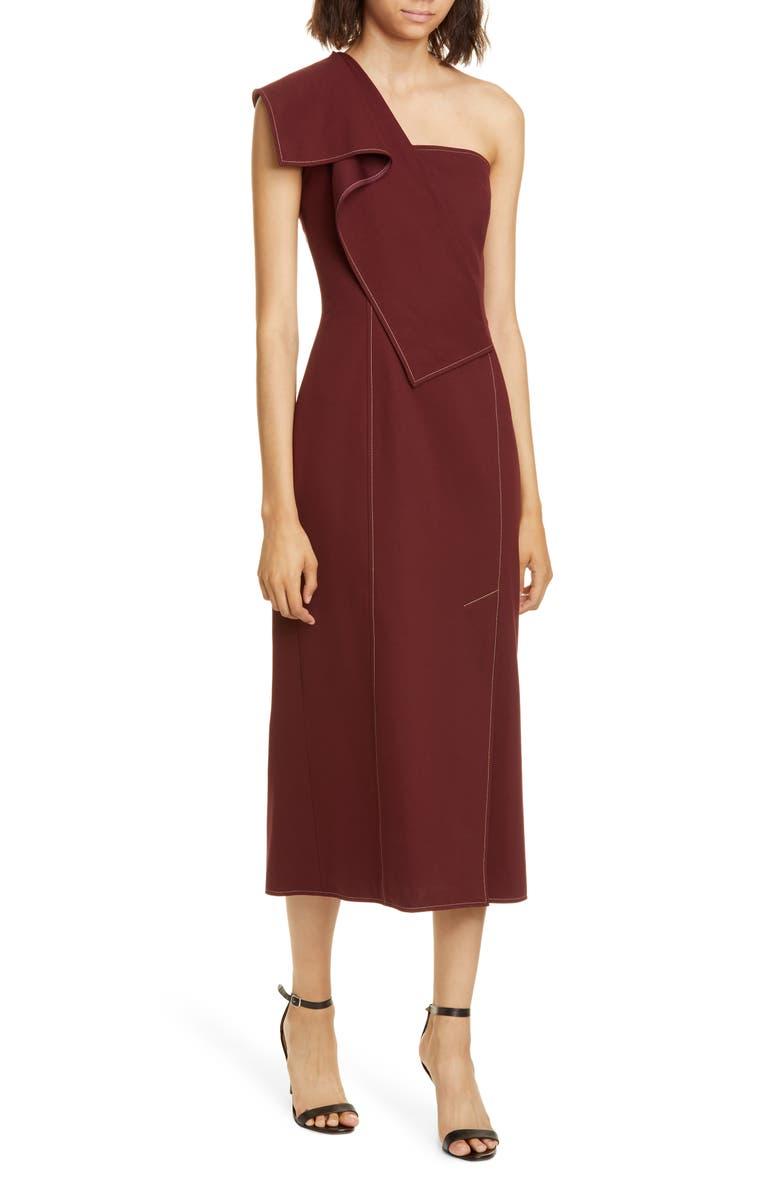 ADEAM Ruffle One-Shoulder Twill Midi Dress, Main, color, BURGUNDY