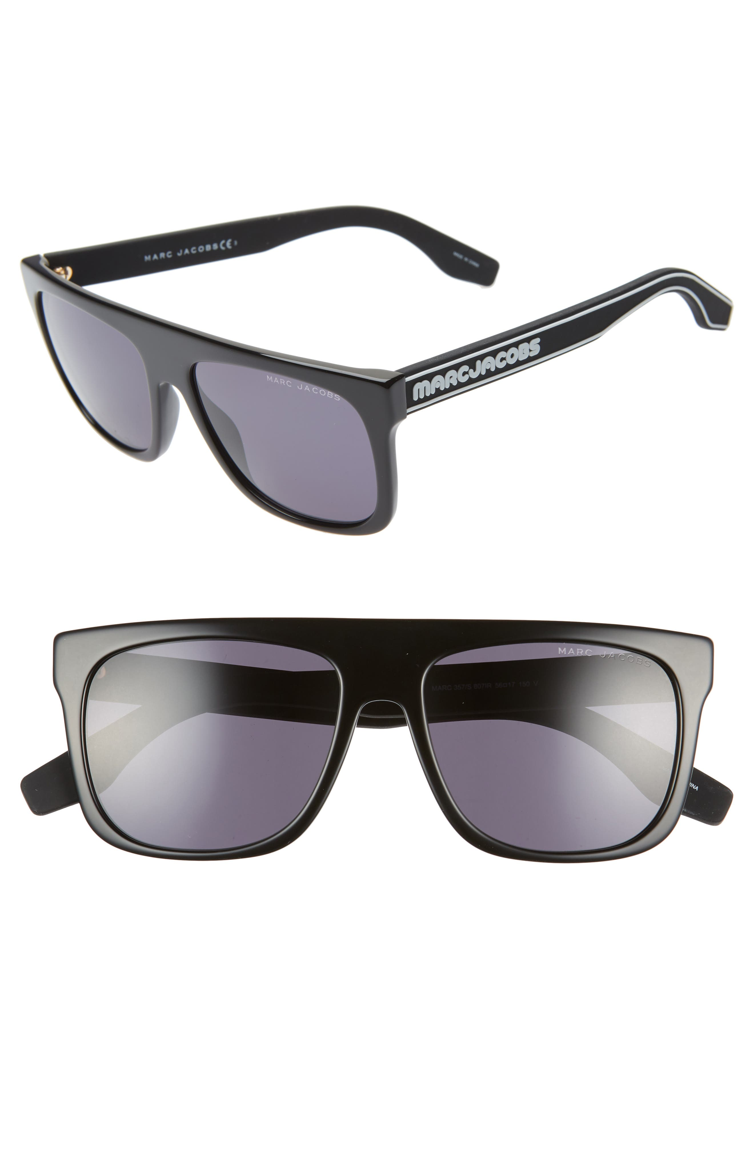 56mm Mirrored Flat Top Sunglasses, Main, color, BLACK