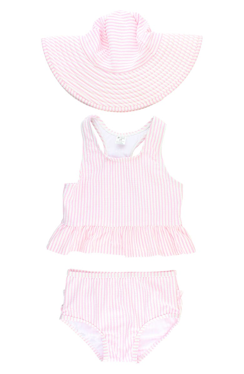 RUFFLEBUTTS Seersucker Two-Piece Swimsuit & Hat Set, Main, color, PINK
