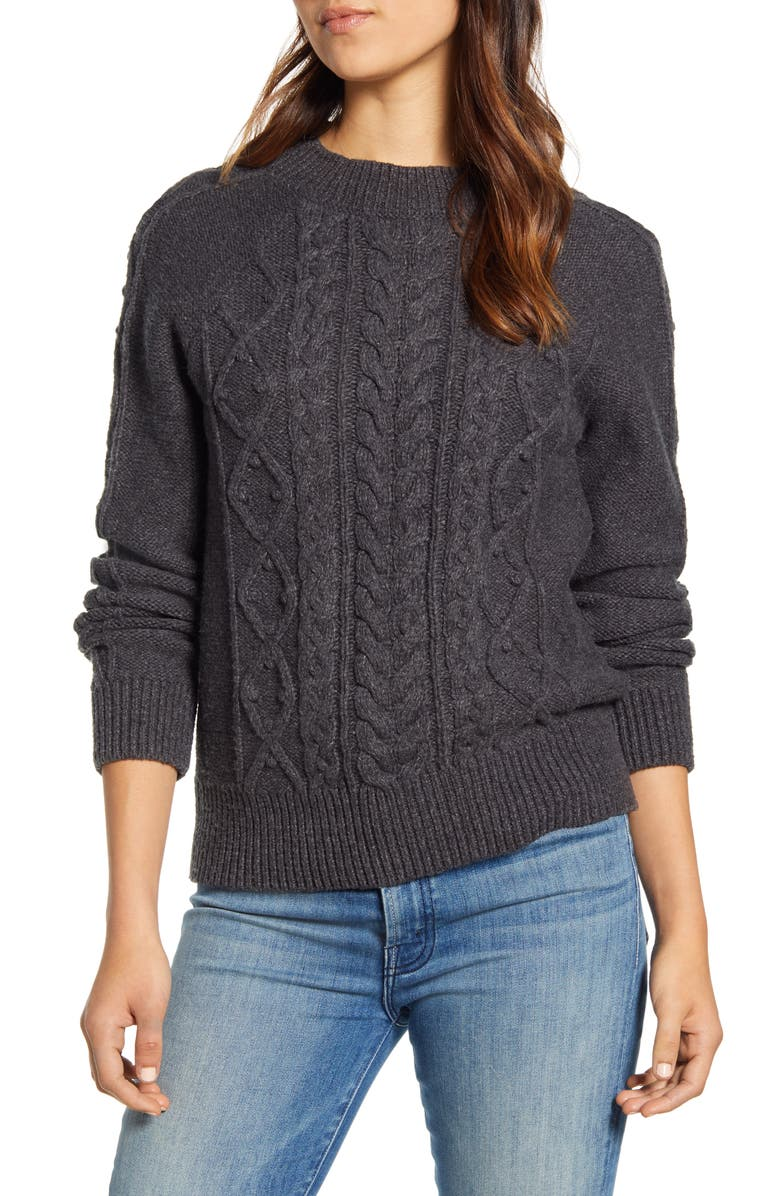 LUCKY BRAND Cable Knit Crewneck Sweater, Main, color, CHARCOAL HEATHER