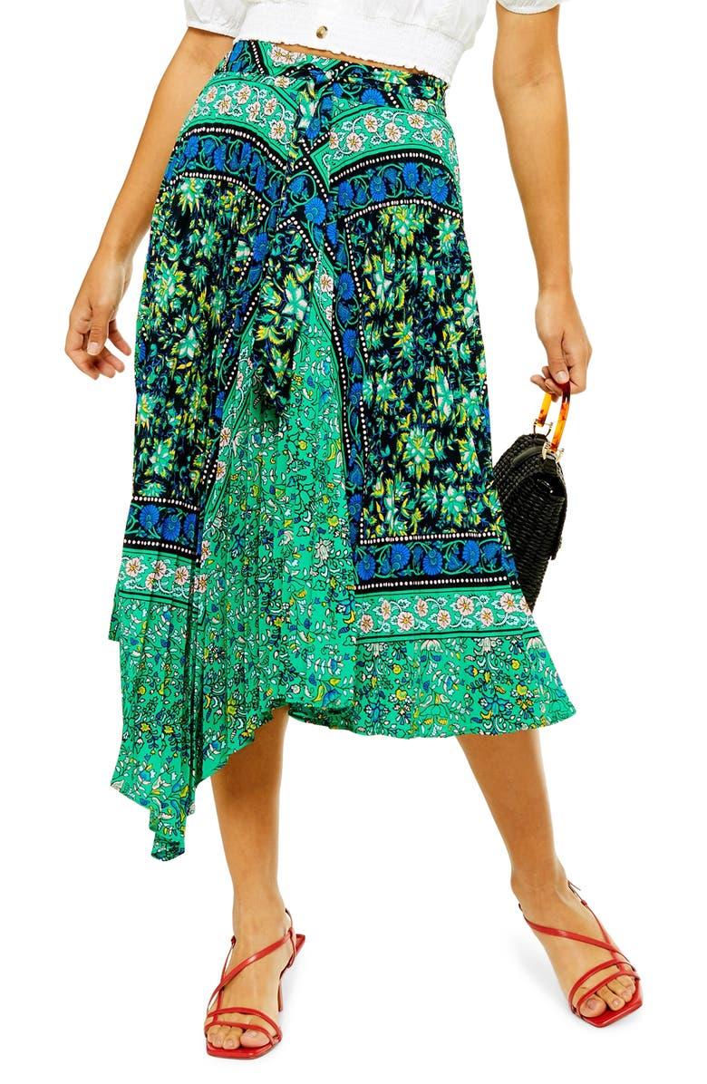 TOPSHOP Frida Paisley Pleat Midi Skirt, Main, color, 300