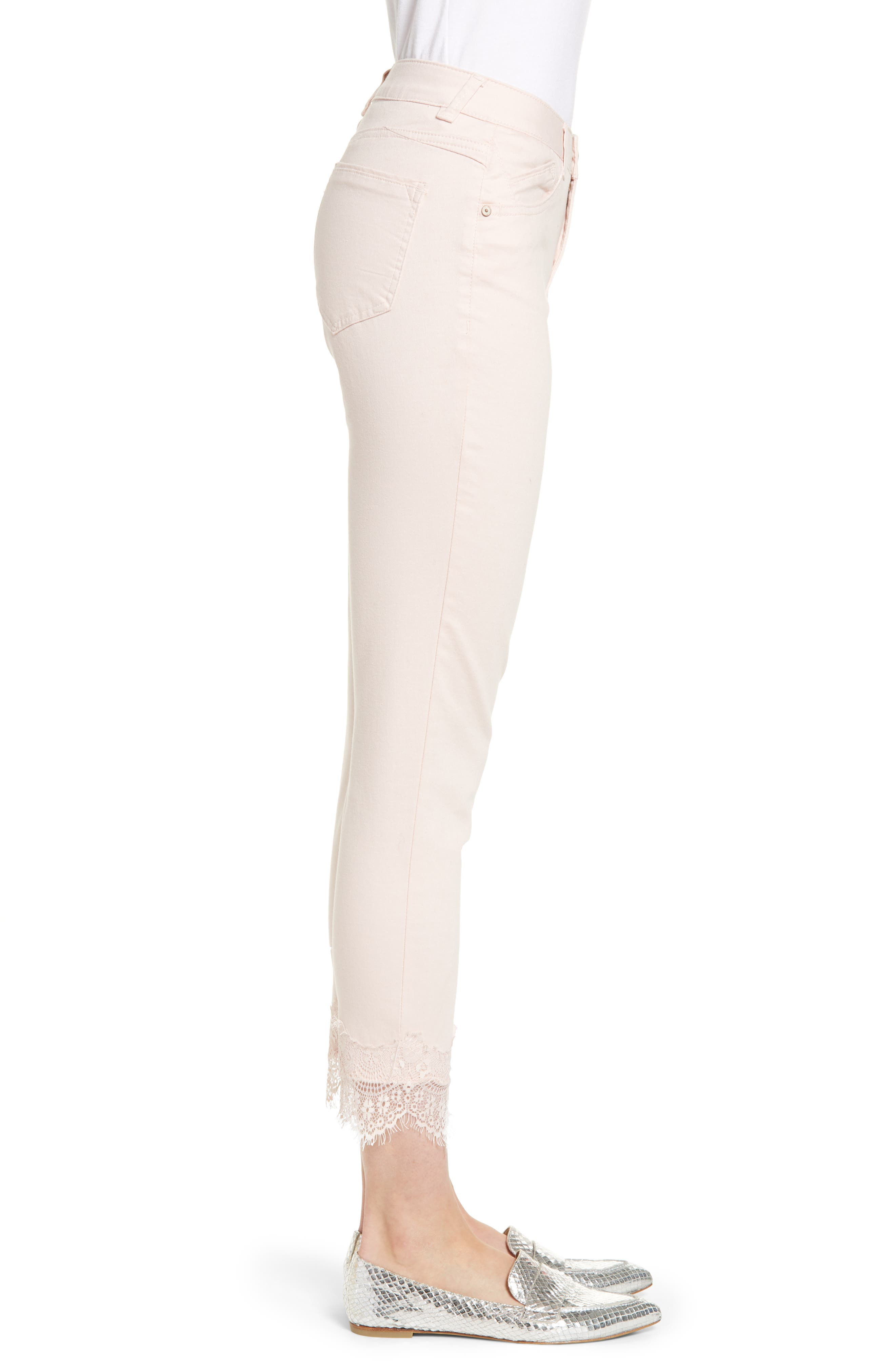 ,                             Ab-Solution Lace Hem Ankle Skinny Pants,                             Alternate thumbnail 4, color,                             WISPER PINK