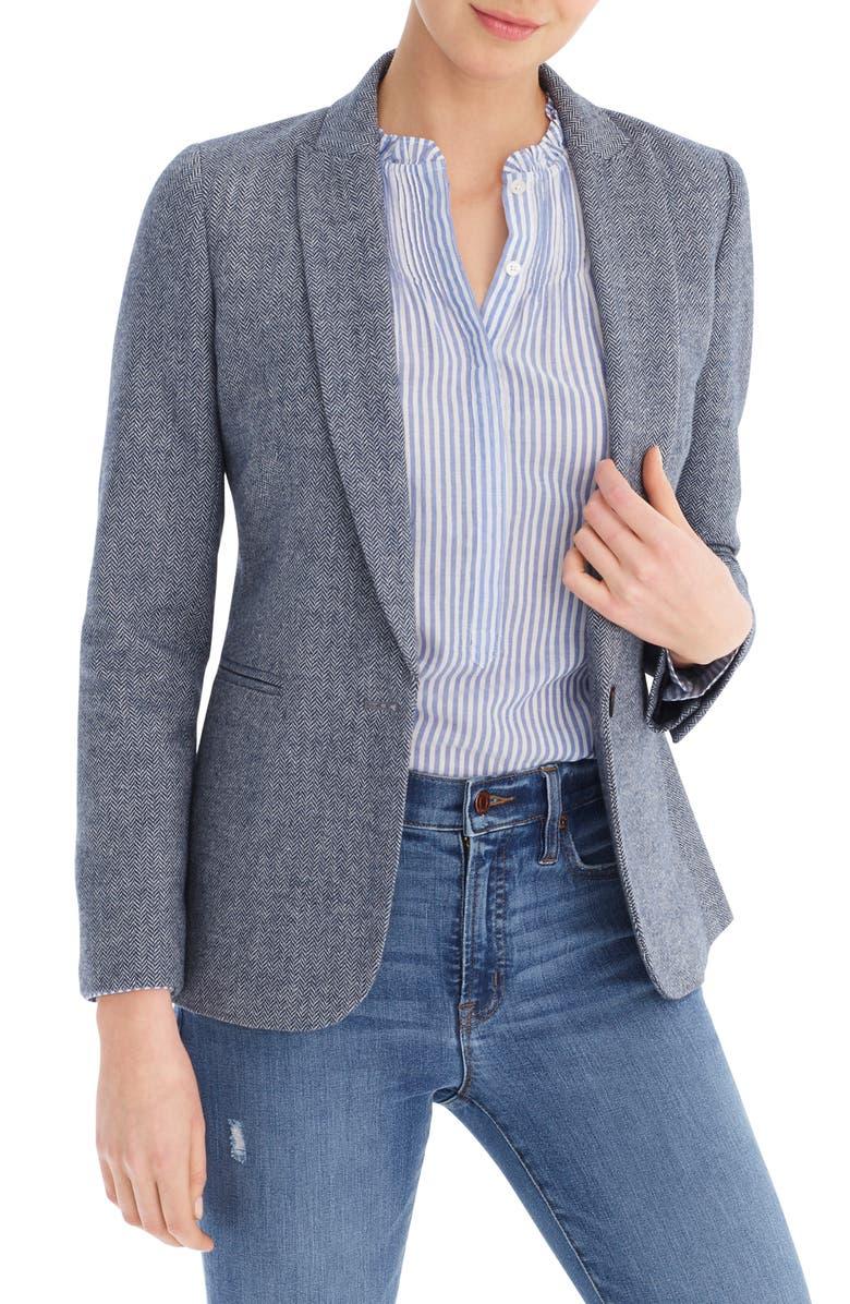 J.CREW Parke Donegal Wool Blend Blazer, Main, color, NAVY BLUE