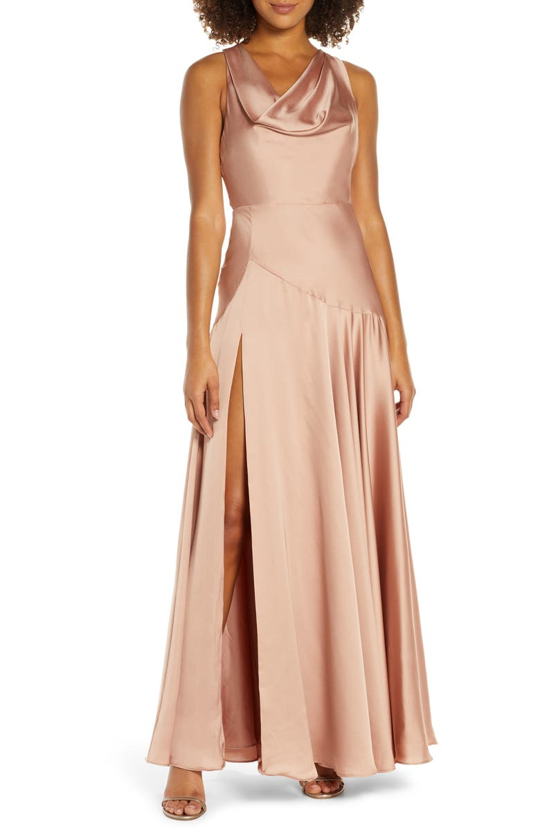 FAME AND PARTNERS The Alice Evening Gown, Main, color, DARK NUDE