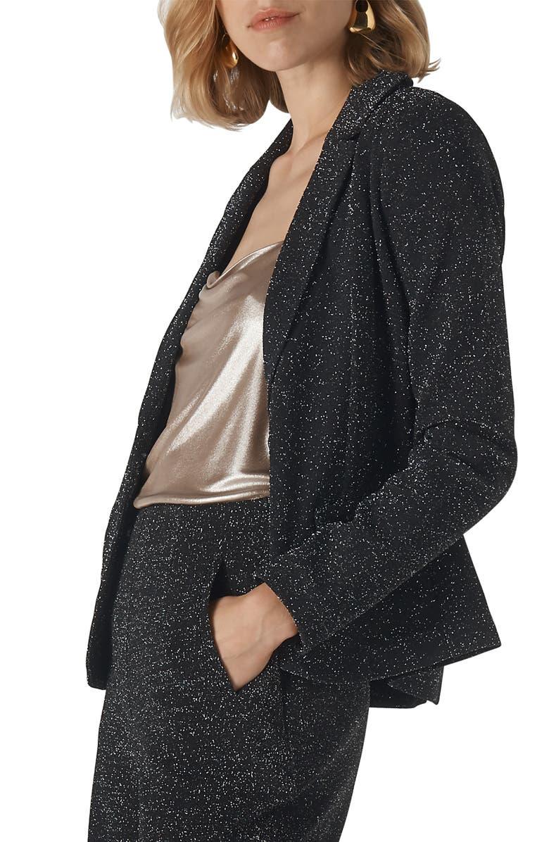 WHISTLES Sparkle Ponte Knit Jacket, Main, color, BLACK