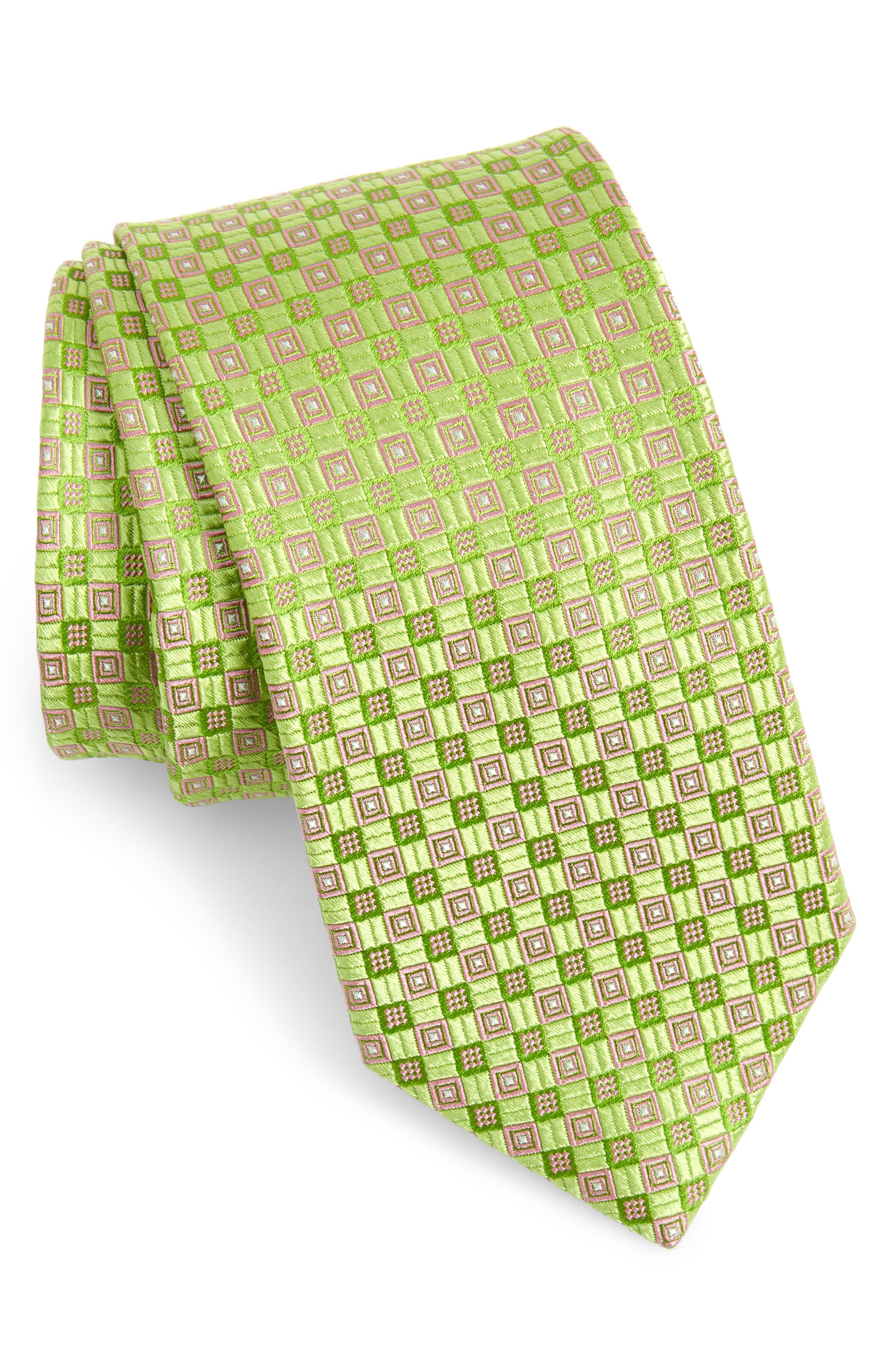 1960s – 70s Men's Ties | Skinny Ties, Slim Ties Mens Ted Baker London Parquet Grid Silk Tie $47.49 AT vintagedancer.com