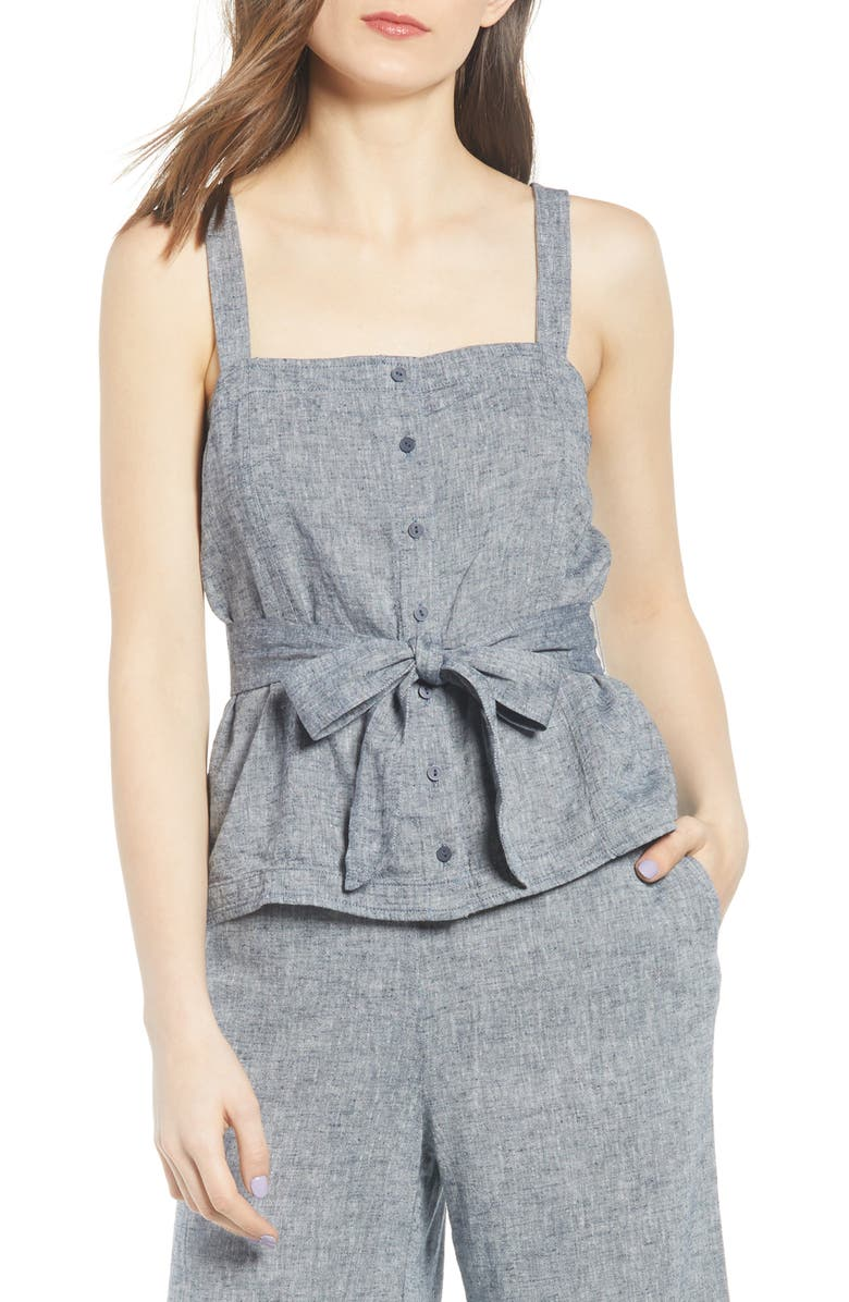 CHELSEA28 Sleeveless Button Front Top, Main, color, 401