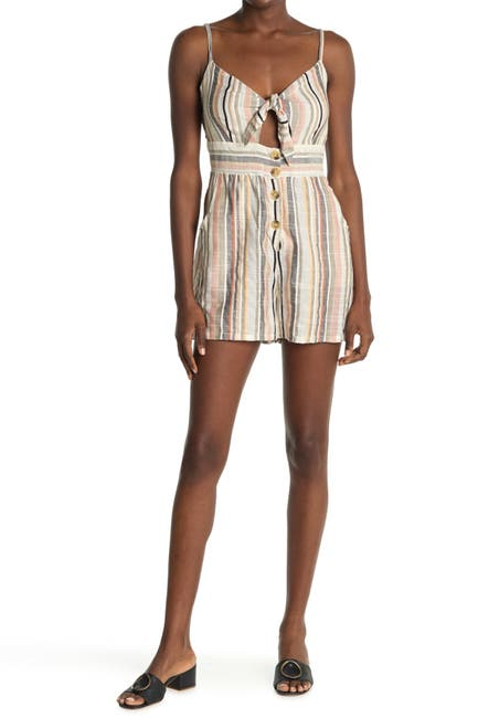 Image of Angie Tie Cutout Front Stripe Print Romper